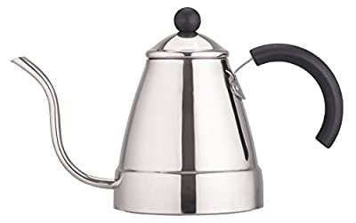 Zell Stainless Steel Tea Coffee Kettle, Gooseneck Thin Spout for Pour Over Coffee, Works on Gas, Electric, Induction Stovetop for Fast Water heating | 47 oz (1400 ml)