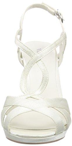 MENBUR Amparo - Sandalias Con Tira Vertical Mujer Blanco (Ivory)
