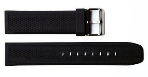 22mm BLACK SOFT RUBBER SILICONE COMPOSITE SPORT DIVER STRAP BAND FITS 800 SERIES WITH SS (Mens 800 Series)