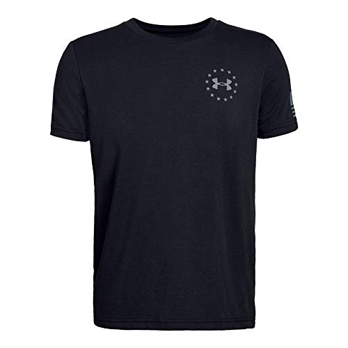 - Under Armour Boys' Freedom Flag T-Shirt, Black (001)/Steel, Youth X-Small