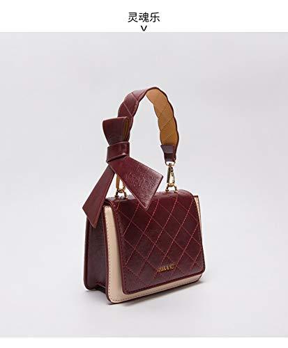 Square Rombal Shoulder per a Dark donna borsa Retro Fashion Red Borsa Wild Small tracolla Wybbag SPznwd6W6q