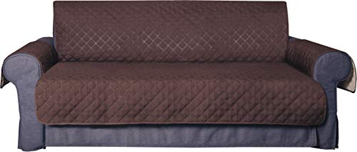Deluxe Original Reversible Sofa Cover. Heavy and Durable 270 GSM Fabric, Double colored - Brown/Beige, Hypoallergenic, Washable, Waterproof Protection, Quilted pattern, ECO. For 3-Seater Sofas.