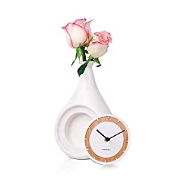Table Clock, Bud Vase with 3 Inch Clock, Battery Operated Silent Quartz Movement Floral Ceramic Clock for Home Decor Living Room, Showcasing a Single Bud/Tiny Flowers (1.6 Diameter, White)
