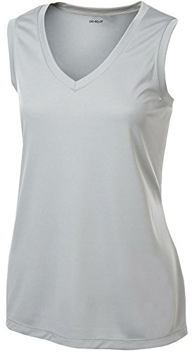 Joe's USA Ladies Moisture Wicking Muscle Tank Athletic T-Shirt- Silver-XL
