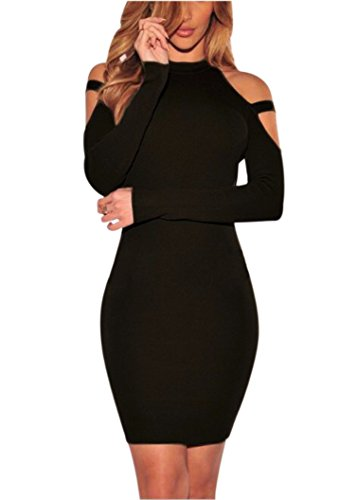 Womens Long Sleeve Sexy Off Shoulder Bodycon Party Bandage Club Dresses Black XL