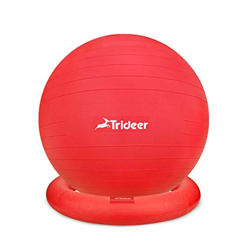 Trideer Ball Chair – Exercise Stability Yoga Ball with Base for Home and Office Desk, Ball Seat, Flexible Seating with Resistance Bands & Pump, Improves Balance, Back Pain, Core Strength & Posture …