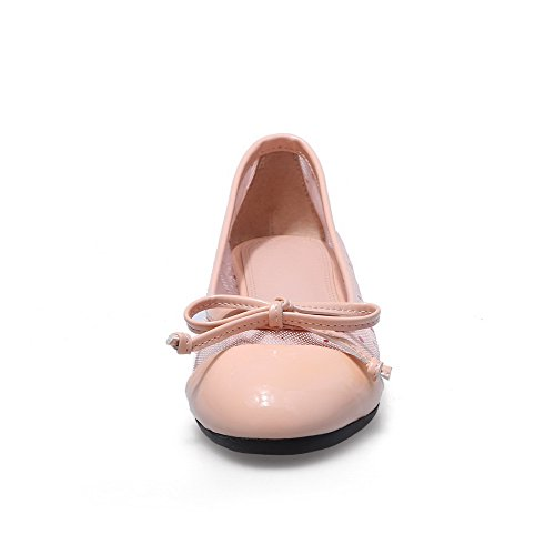 AllhqFashion Womens Round Closed Toe Cow Leather Solid Low Heels Pumps with Bowknot and Mesh Pink d2VQIts
