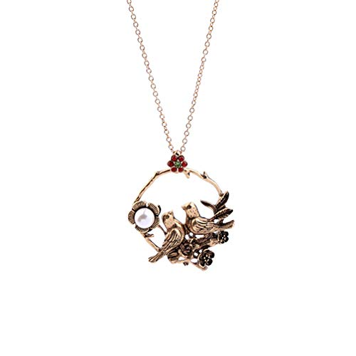 Women Long Necklace Antique Imitation Pearl Flower Birds Pendant Vintage Jewelry Gold Color for Party Wedding Anniversary Daily ()