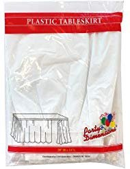 Plastic Table Skirts - 13 Colors- Pack of 2 Select Color: White ()