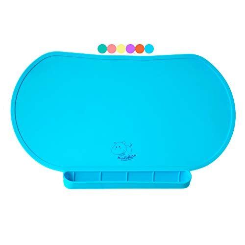 Children Place Mat by Baby Mumbo, Premium Quality, Food Grade Silicone for Maximum Hygiene, Unique Raised Edges Design and Spill Proof Accident Tray, Lightweight and Portable, 6 Colors (Bashful Blue) (Border Table Topper)
