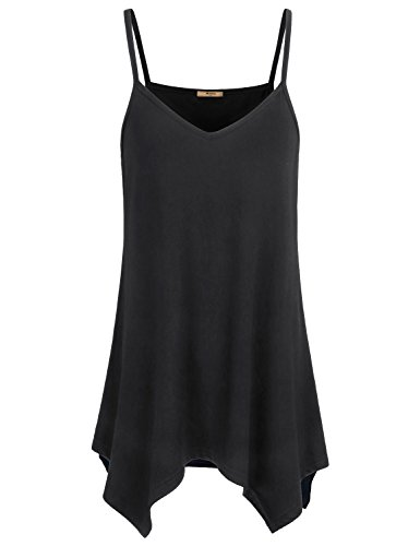 Miusey Camisoles for Women Ladies Fowly Long Tunic Tops Handkerchief Irregular Hem Spaghetti Strap Cotton Lightweight Flared Casual Tank Camis Black - Jersey Cotton Camisole
