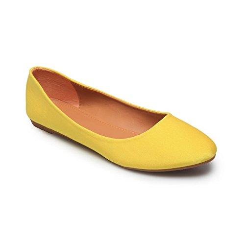 La Modeuse-Bailarinas de tejido sedoso plana amarillo
