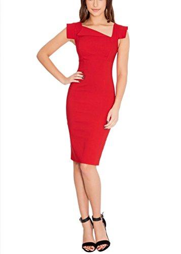 Ssyiz Mujer Asimétrico V-Cuello sin Mangas Algodón Entallado para Negocio Fiesta Formal Cóctel Lápiz Vestido(Privado Personalizado) Rojo