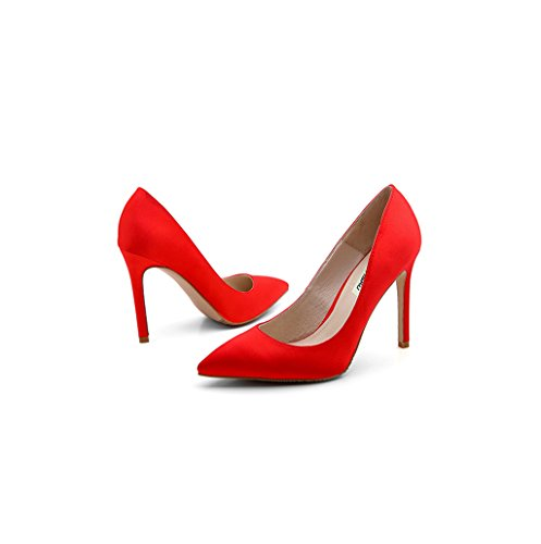 Dream Feminine Elegant Pointed-Toe High Heel Shoes Red Satin Shallow Mouth Sandals 8.5cm/10.5cm Wedding Shoes Sexy Feet Bare Shoes (Color : Red 8.5cm, Size : 33)