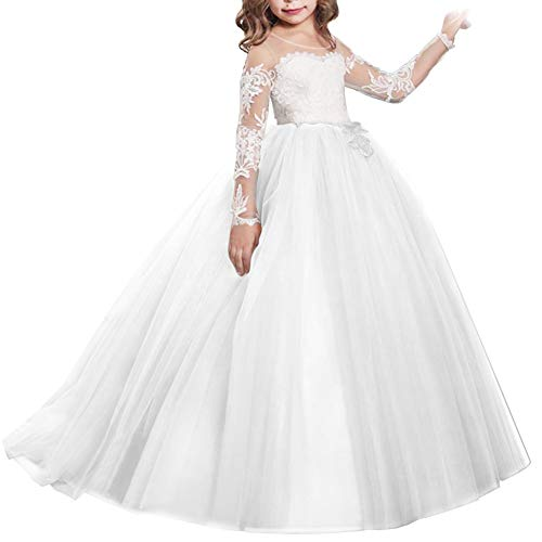 Girls Flower Lace Princess Christmas First Communion Tulle Dress for Kids Long Pageant Gown Floor Length Prom Dance Evening #I Long Sleeve White 6-7T