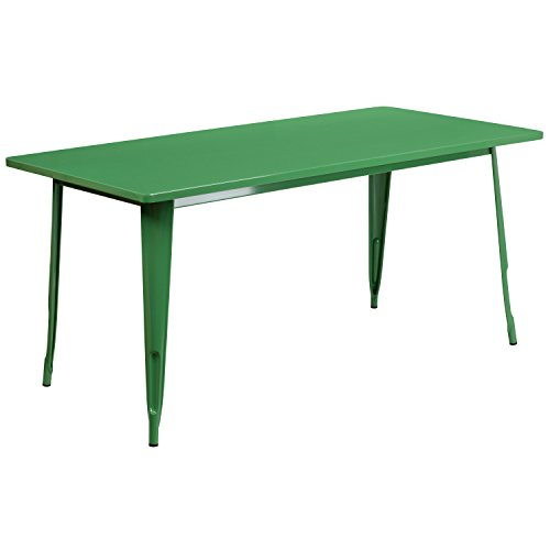 Flash Furniture 31.5'' x 63'' Rectangular Green Metal Indoor-Outdoor (Best Flash Furniture Unique Dining Tables)