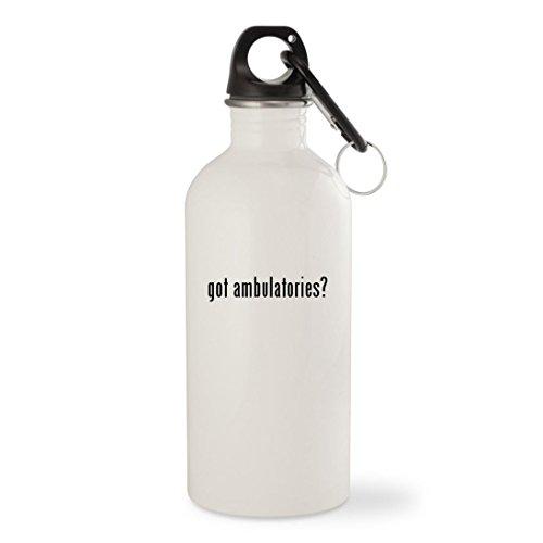 got ambulatories? - White 20oz Stainless Steel Water Bottle with Carabiner