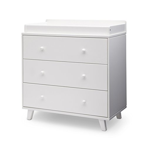 Delta Children Ava 3 Drawer Dresser with Changing Top, White