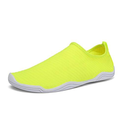 FCKEE Water Shoes Aqua Schuhe Slip-On Barfuß Leicht Leicht Quick-Dry Drainage Haltbare Sohle Mutifunktional für Beach Pool Surfen Frauen Männer T-gelb
