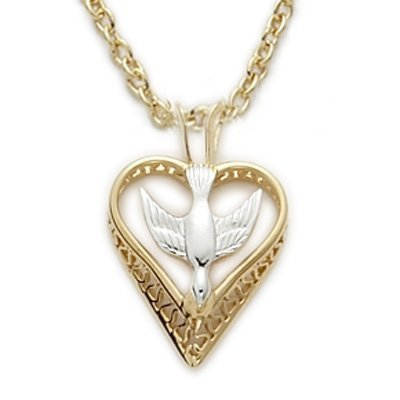 14K Gold over Sterling Filigree Heart with Overlay Dove Two-Tone Pendant, 1/2 Inch