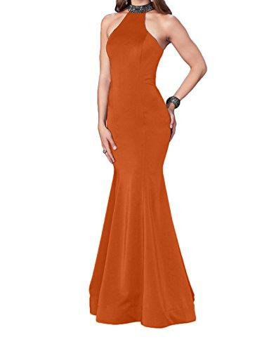 mia Festlichkleider Abendkleider mit Etuikleider Abschlussballkleider Perlen Orange Bodenlang Steine Braut Promkleider Satin La OgAxO