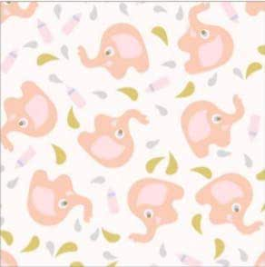 Pink White Elephant Flannel Fabric Sold by the Half Yard