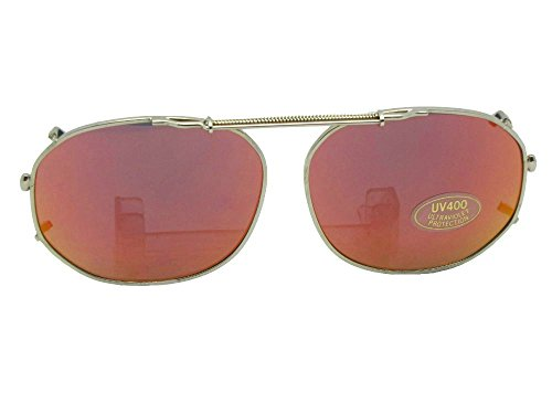 Round Square Color Mirror Gray Lens Non Polarized Clip on Sunglasses (Gold-Red Mirror Gray Lens, 54mm Width x 42mm - Clip Mirror Sunglasses On
