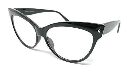 WebDeals - Cateye or High Pointed Eyeglasses or Sunglasses Vintage Inspired Fashion...... (High Point, Black/Clear)