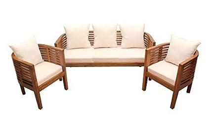 abb5bff792 Shilpi Handmade Pure Teak Wooden Round Shape Upholstered Sofa Set of 5  Seater Stylish & Capital