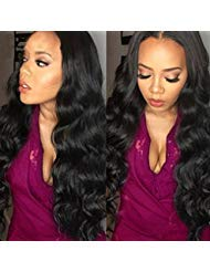 Belinda Hair Virgin Brazilian Hair Body Wave 3 Bundles 7A Unprocessed Virgin Brazilian Hair Bundles Human Hair Weave Extensions Natural Black Color (16 18 20inches)
