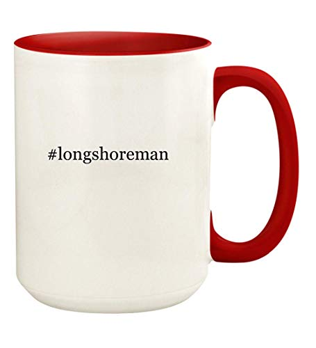 #longshoreman - 15oz Hashtag Ceramic Colored Handle and Inside Coffee Mug Cup, Red