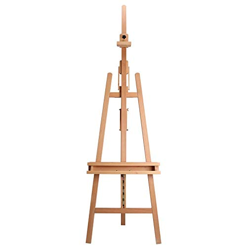 Glokers Large Wooden Art Easel | Wood Adjustable Floor Artist Lyre A Frame | Titling Design with Brush Holder | Display Stand for Dry Erase Board, Posters, Whiteboard | Holds Canvas Up to 48 Inches