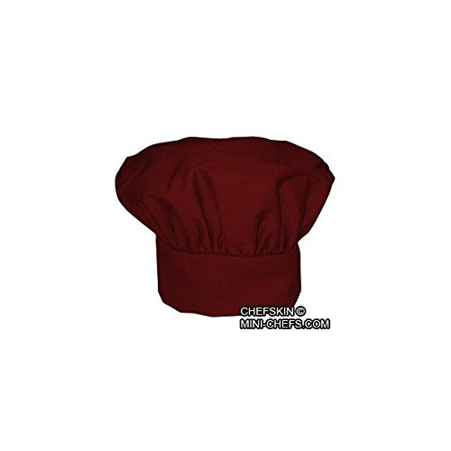 CHEFSKIN BURGUNDY RED CHEF MUSHROOM HAT ADULTS ADJUSTABLE VELCRO, NICE TWILL FABRIC TOP QUALITY HAT, DELIVERED IN 2-3 DAYS CHEFSKIN MUSHROOM HAT