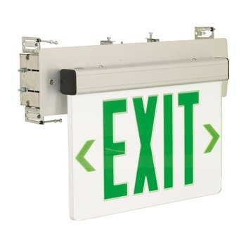 Nora Lighting NX-511-LEDG1MA Green LED Wall Mount Recessed Edge-Lit Exit44; 2-Circuit44; Mirror44; Aluminum