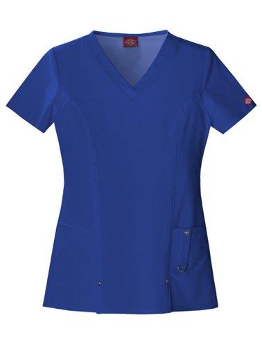 Dickies Women's Scrubs Xtreme Stretch V-Neck Shirt, Galaxy Blue, X-Large