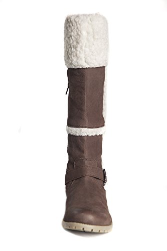 and Black 15 Dark up Leather Brown Fur 14 Mid Length Width 15 Womens Calf Inches Boot and brown boots Zip Inches Calf Rn6q0Y