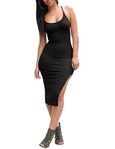 Ninimour Women's Solid Sleeveless Spaghetti Strap Side Slit Bodycon Dress, Black, Small