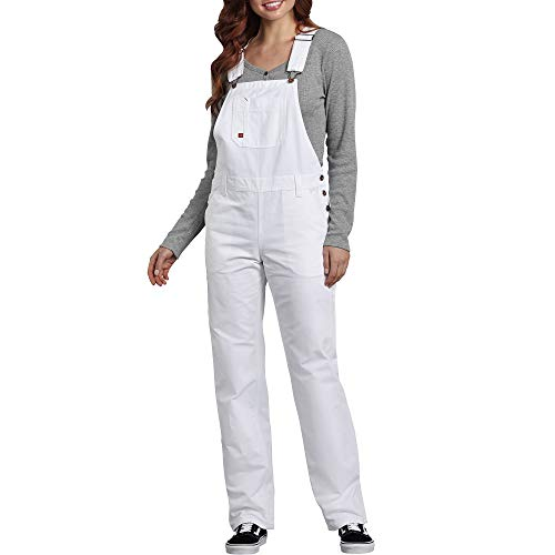 Dickies Women's Bib Overall 100% Cotton Denim with ScuffGard, White, Large