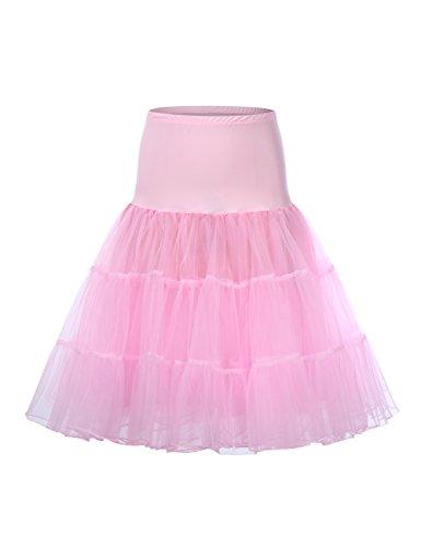 HiQueen Ladies Tulle Underskirt Chiffon Midi Hoopless Crinoline Petticoat Pink L