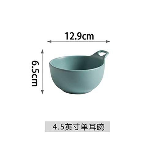 (Matte matte ceramic bowl black glaze with handle bowl single ear bowl salad bowl pudding bowl household rice bowl dessert bowl wood green 4.5 inch)