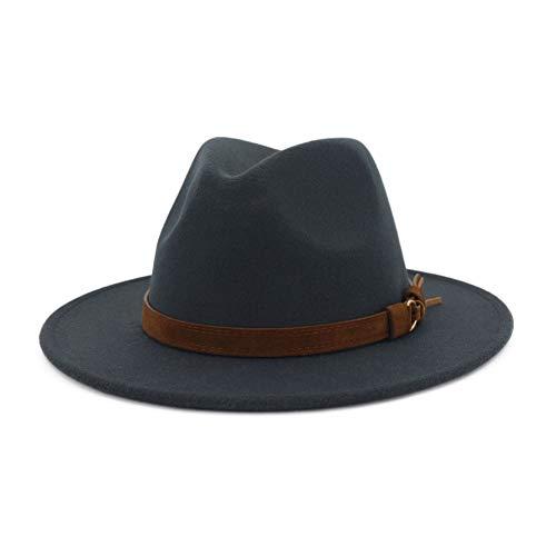 Mens Flat Brim Hat - Lisianthus Men & Women Vintage Wide Brim Fedora Hat with Belt Buckle Dark Grey 59-60cm
