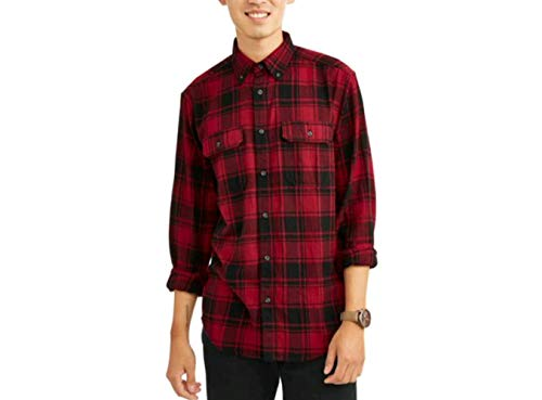 (George Mens Long Sleeve Flannel Shirt (XL 46/48, Red)