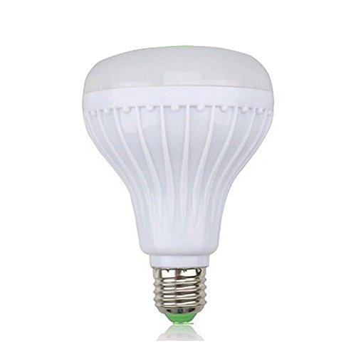 TOOGOO Luz bombilla de color RGB LED E27 12W Lampara de altavoz de audio de musica inteligente control Bluetooth