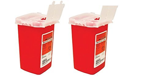 Sharps Container Biohazard Needle Disposal 1 Qt Size - 2 Pack