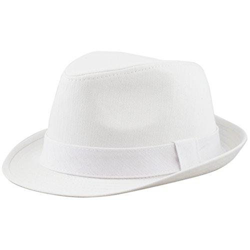 THE HAT DEPOT Unisex Cotton Twill Herringbone Fedora Hat (S/M, White) (Twill Fedora)