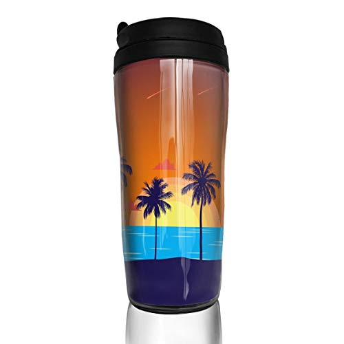 (Coffee Mug Insulated Summer Sea Island Traveler Tumbler Coffee Cup 12 Ounce)
