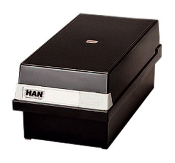 Han 965-13 - Caja para archivar fichas (capacidad para 800 fichas A5 en horizontal, 235 x 190 x 250 mm), color negro