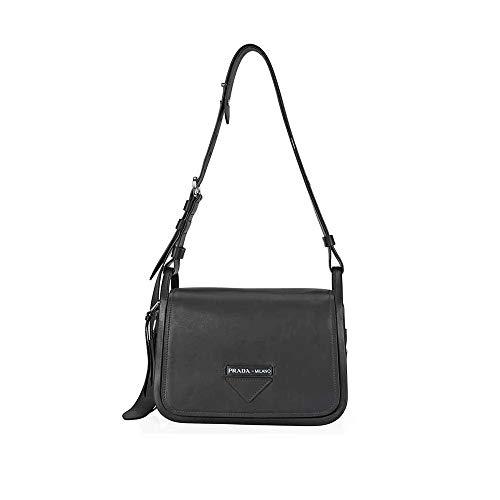 (Prada Medium Leather Shoulder Bag- Black)