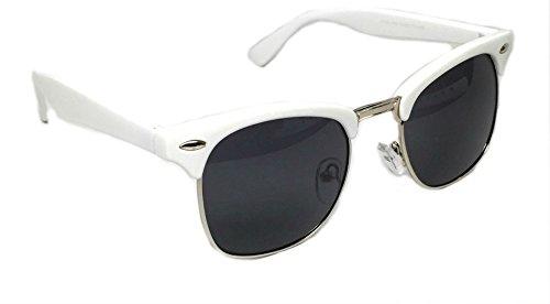 WebDeals - Vintage Classic Half Frame Horn Rimmed Browline Design Sunglasses (White, Silver / - Review Sunglasses Tac
