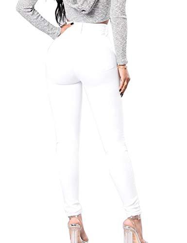 Vita Slim Fit 5 Donna Sexy Bottoni Abbottonati Vintage A S xxl Jeans Somthron Bianco Alta Con AgawIxq